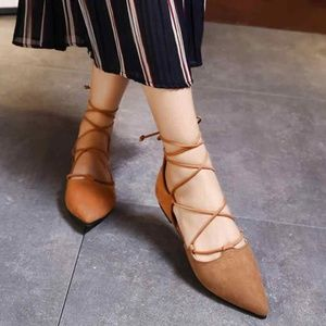 SCHUTZ Pointed Toe Lace Up Brown Flats